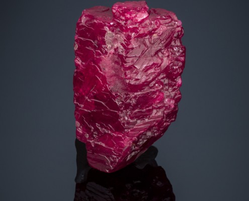 """The Hixon ruby"", crystal, corundum ruby. From Mogok, Sagaing, Myanmar. Los Angeles Country Museum of Natural History catalog # 20331. (Hixon collection)."