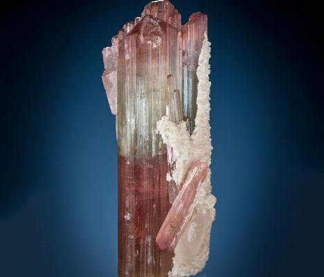 GIA collection# 23771. Tourmaline group from Himalaya mine, Mesa Grande, CA, USA. Gift of William F. Larson.