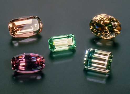 Tourmaline, Maine (top left-7.01 cts, top right-7.57 cts, center-3.96 cts, bottom left-5.61 cts, bottom right-5.95 cts)